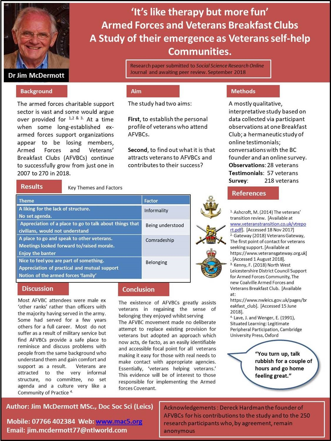 Poster first displayed at Forces in Mind Trust (FiMT) Conference 11 Oct 2018